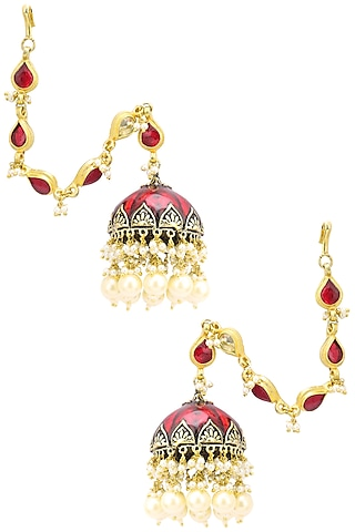 Gold Finish Kundan and Red Meena Work Jhumki Earrings by Belsi's Jewellery