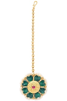 Gold Finish Green Kundan and Pearls Flower Maangtika by Belsi's Jewellery