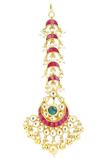 Gold Finish Kundan and Pearls Crescent Maangtika by Belsi's Jewellery