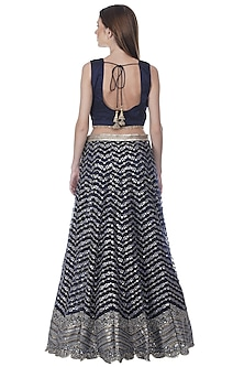 Ink Blue Embroidered Lehenga Set by Bhumika Grover