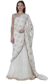 Ivory Embroidered Lehenga Saree Set by Bhumika Grover