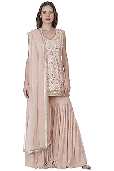 Blush Pink Embroidered Gharara Set by Bhumika Grover
