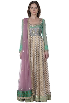 Blush Pink & Gold Hand Embroidered Anarkali Set by Bhumika Grover