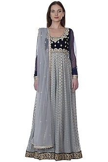 Ink Blue Embroidered Anarkali Set by Bhumika Grover