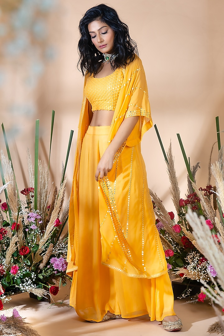 Mango Yellow Embroidered Palazzo Pant Set by Bhumika Grover