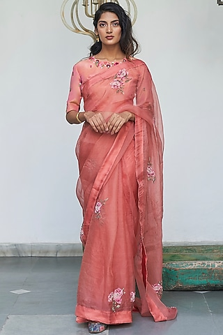 Peach Saree Set With Embroidered Blouse by Begum Pret