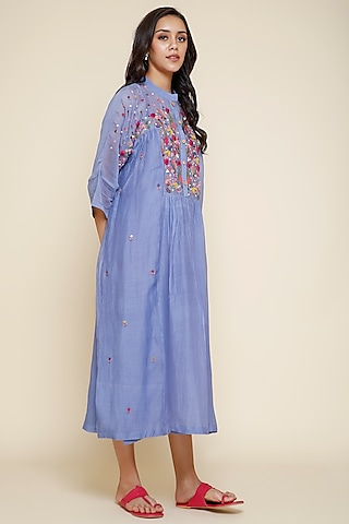 Periwinkle Blue Embroidered Chanderi Kurta With Slip by Begum Pret