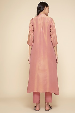 Peach Embroidered Kurta With Slip & Pants by Begum Pret