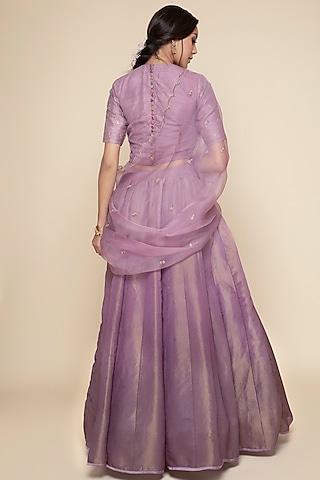 Purple Embroidered Lehenga Set by Begum Pret