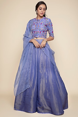Periwinkle Blue Embroidered Lehenga Set by Begum Pret