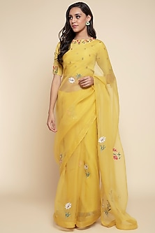 Yellow Embroidered Saree Set by Begum Pret