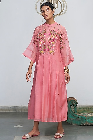 Peach Embroidered Kurta With Inner by Begum Pret