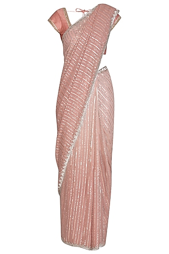 Blush Embroidered Ombre Saree Set by Bhumika Grover