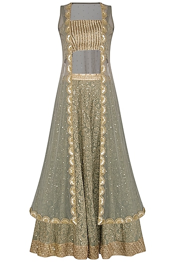 Jade Green Embroidered Lehenga Set With Cape by Bhumika Grover