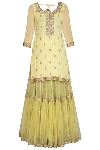 Lemon Embroidered Sharara Set by Bhumika Grover