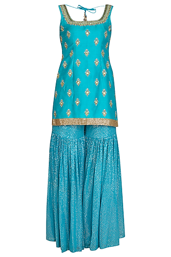 Aqua Blue & Lime Embroidered Shimmer Gharara Set by Bhumika Grover