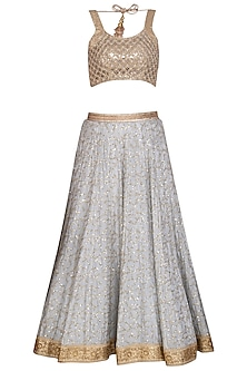 Grey & Peach Embroidered Lehenga Set by Bhumika Grover