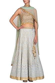 Mint Grey Embroidered Lucknowi Lehenga Set by Bhumika Grover