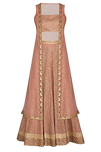 Rose Gold Embroidered Lehenga Set With Cape by Bhumika Grover
