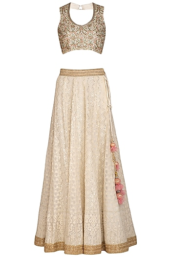 Off White & Mint Embroidered Lehenga Set by Bhumika Grover