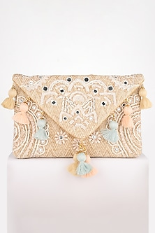 Beige Thread Embroidered Clutch by BHAVNA KUMAR-ACCESSORIES AS GIFTS