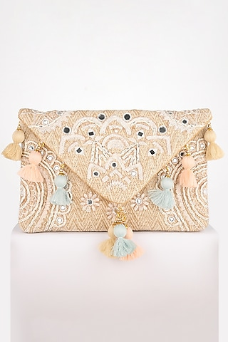 Beige Thread Embroidered Clutch by BHAVNA KUMAR