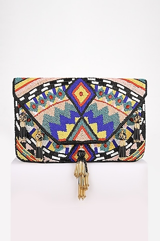 Black Hand Embroidered Clutch by BHAVNA KUMAR