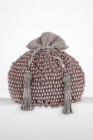 Grey Hand Embroidered Potli Bag by BHAVNA KUMAR