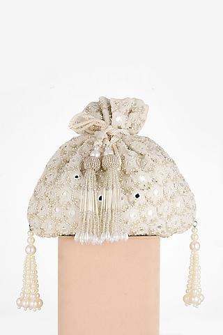 White Hand Embroidered Potli Bag by BHAVNA KUMAR