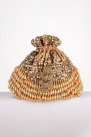 Golden Embroidered Potli Bag by BHAVNA KUMAR