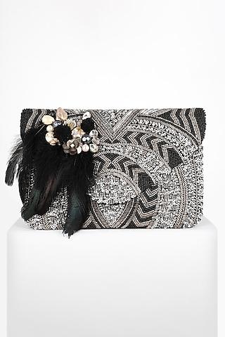 Black & Silver Hand Embroidered Boho Clutch by BHAVNA KUMAR