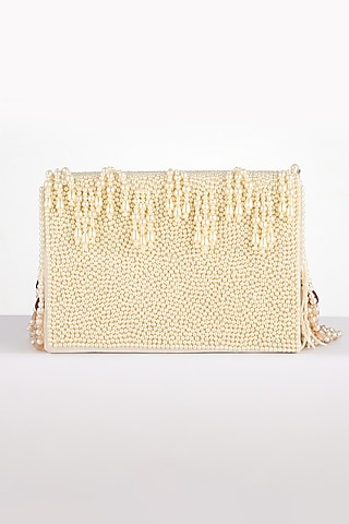 White Embroidered Clutch by BHAVNA KUMAR