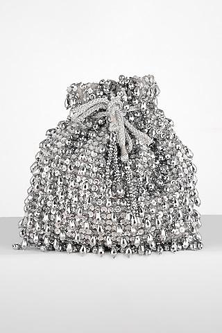 Silver Hand Embroidered Potli Bag by BHAVNA KUMAR
