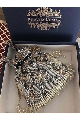 Golden Hand Embroidered Potli Bag by BHAVNA KUMAR