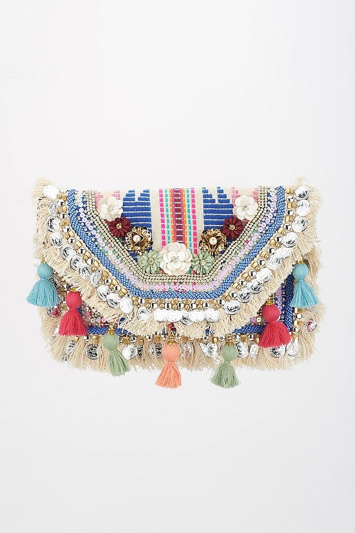 Multi-Colored Woven Boho Bag by BHAVNA KUMAR