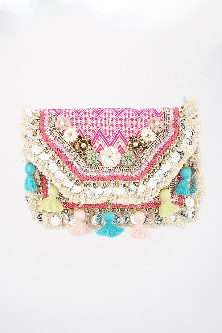Multi-Colored Woven Boho Bag With Tassels by BHAVNA KUMAR