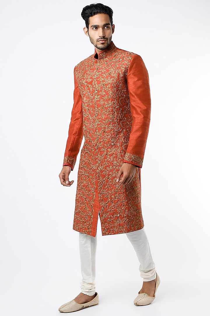 Rust Orange Zardosi Embroidered Sherwani Set by Bhavin Vora