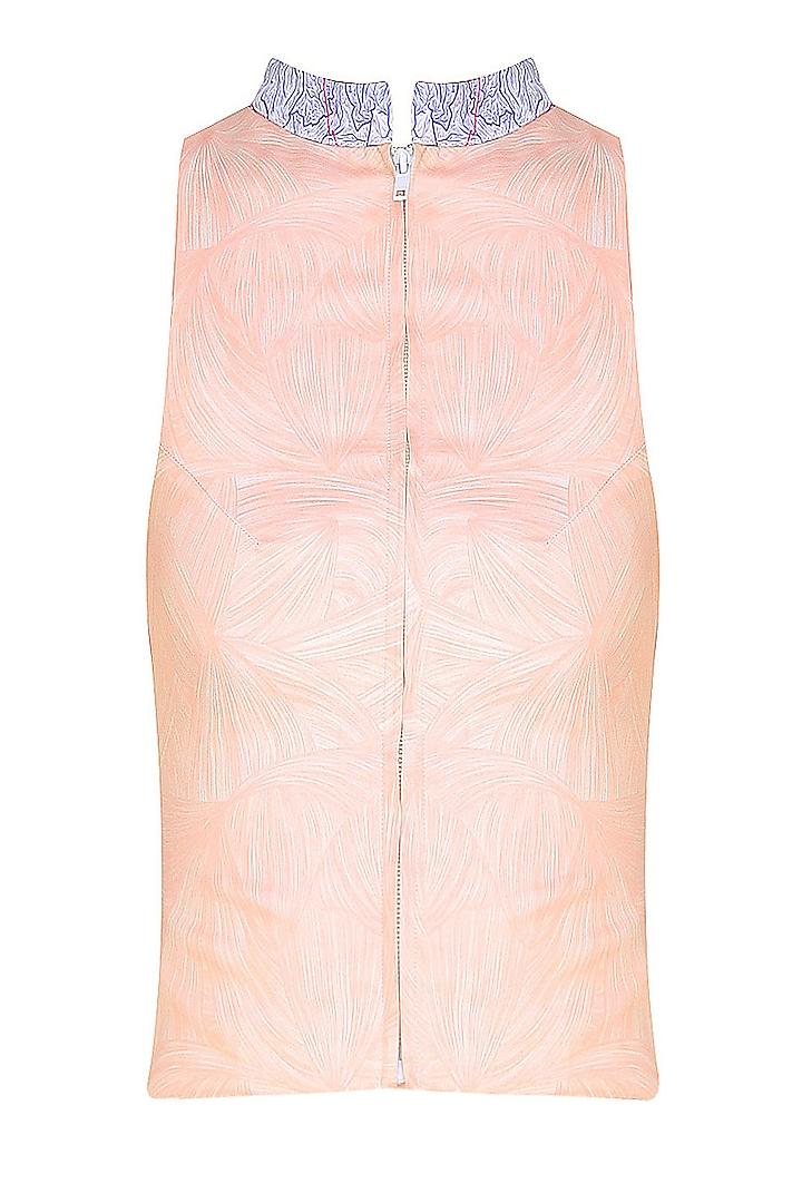 Nude Contrast Collar Zipper Top by Bhoomika Chouhan