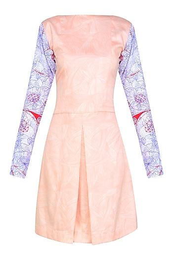 Nude Split Sleeves Box Pleated Dress by Bhoomika Chouhan