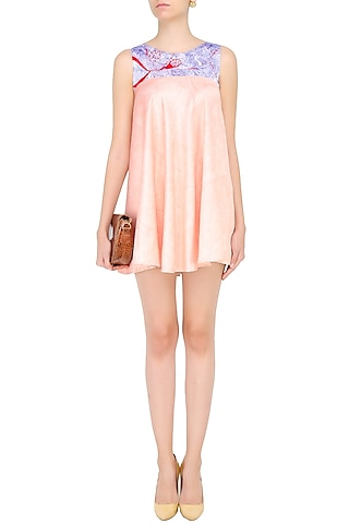 Nude and Blue Asymmetric Anatome Skater Dress by Bhoomika Chouhan