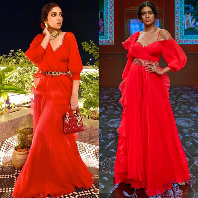 Poppy Red Embroidered Jumpsuit Set by Ridhi Mehra