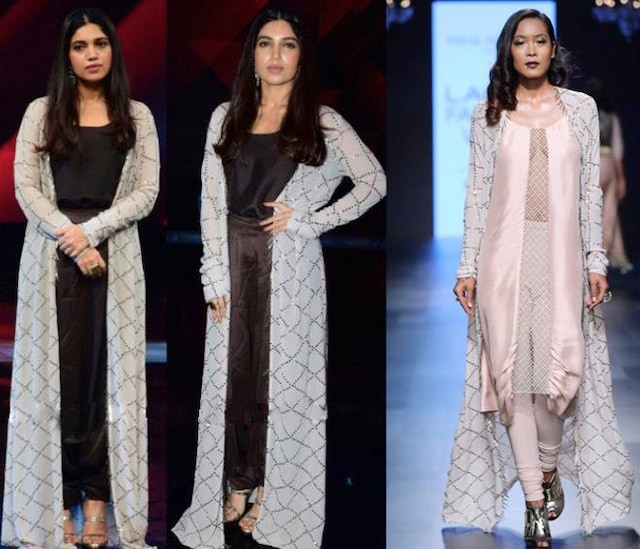 Blush Pearl Embroidered Cowl Kurta with Powder Grey Jacket by Payal Singhal