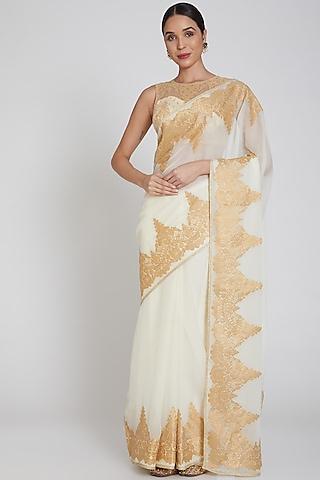 Cream Embroidered Saree Set by Bhairavi Jaikishan