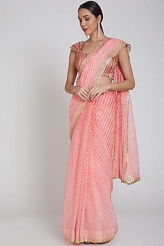 Coral Embroidered Saree Set by Bhairavi Jaikishan