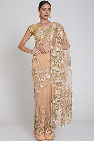 Pale Coral Floral Embroidered Saree Set by Bhairavi Jaikishan
