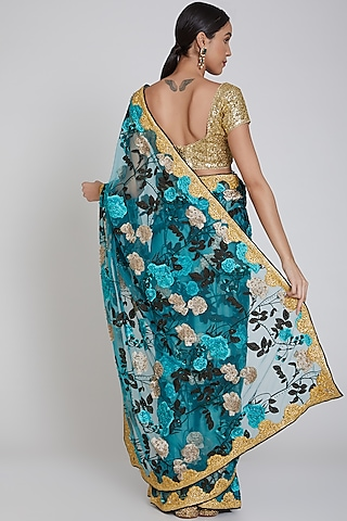 Peacock Green Embroidered Saree Set by Bhairavi Jaikishan