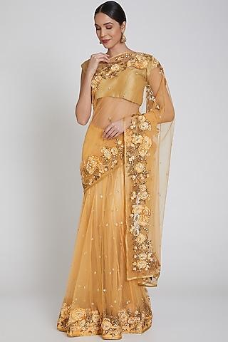 Yellow Embroidered Saree Set by Bhairavi Jaikishan