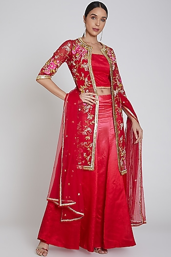 Red Embroidered Jacket Lehenga Set by Bhairavi Jaikishan