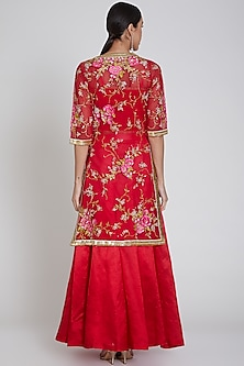 Red Embroidered Jacket Lehenga Set by Bhairavi Jaikishan
