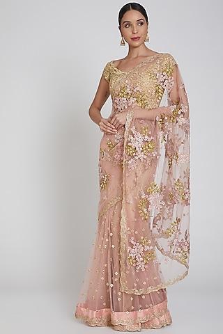 Pink Embroidered Lehenga Saree Set by Bhairavi Jaikishan